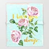 Society6 I love you- always - Gold glitter Typography on floral watercolor illustration Throw Blankets 88'' x 104'' Blanket