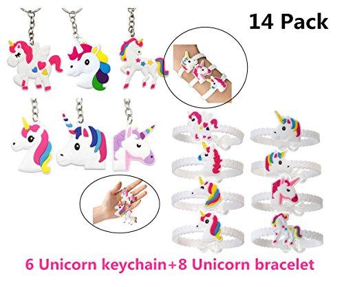 Unicorn Key Chains Bracelets Wristband Emoji Slap,DavonArt Unicorn Birthday  Party Favors Supplies for Kids Girls, Emoticons Smiley Face Gifts, Rubber