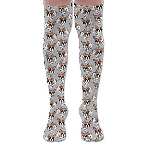 French Bulldog Pied (Red Pied French Bulldog Unisex Knee High Long Socks Stockings Dress Athletic Soccer Socks Elasticity)