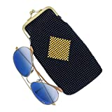 Beaded and sequined Eyeglass case, Slim cigarette case with squeeze snap (Gold Diamond Black)