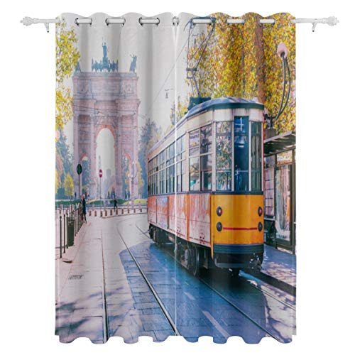 Washable Curtain Blackout 2 Panels Yellow Tram On Narrow Street Print Curtain for Men Women Baby Youth Bedroom Livingroom Sliding Door Baby Room 55x84 Inch Curtain - Lombardia Five Light