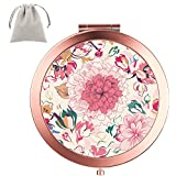 Compact Mirror Dynippy Round Rose Gold 2 x 1x Magnification Makeup Mirror for Purses and Travel Folding Mini Pocket Mirror Portable Hand for Girls Woman Mother - Floral Flower Pattern