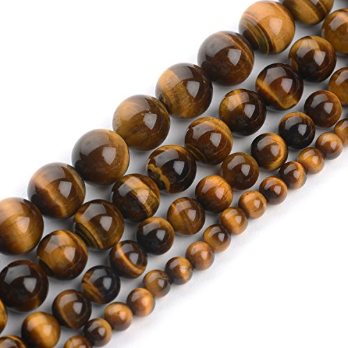 iSTONE Natural Yellow Brown Golden Tiger Eye Gemstone Round Loose Beads for Jewelry Making Findings/Accessories 1 Strand 16 inches - 6mm
