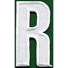 Letter R english alphabet language school white embroidered applique iron-on patch new by TKPatch