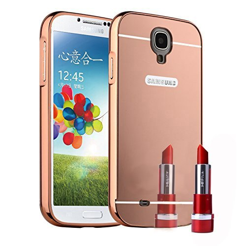 Samsung Galaxy S4 Case, AMASELL Luxury Mirror Acrylic PC Back Cover Case Aluminum Metal Bumper Frame for Samsung Galaxy S4, Samsung I9500, Samsung Galaxy S4 LTE-A , Rose Gold - Mirror