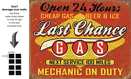 Gas Tin Sign Retro Vintage Distrssed - With Sticky Stripes No Damage to Walls (Last Chance Garage)
