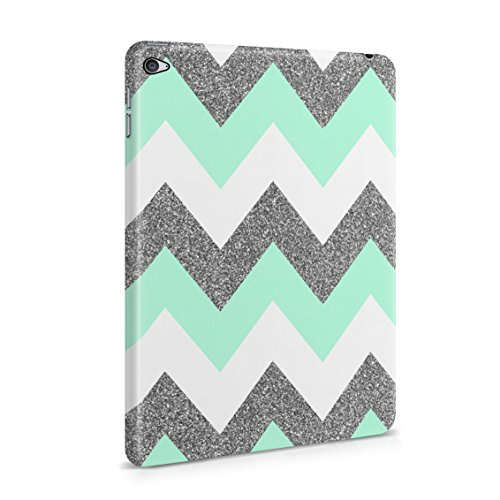 Mint Green Chevron Glitter Sparkle Print Patttern Plastic Tablet Snap On Back Cover Shell For iPad Mini 4