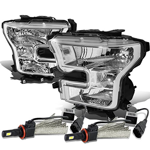 For Ford F-150 13th Gen Pair of Chrome Housing Clear Corner Headlight + H8 LED Conversion Kit
