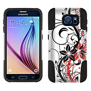 Samsung Galaxy S6 Hybrid Case Black Branch With Red Shadow 2 Piece Style Silicone Case Cover with Stand for Galaxy S6