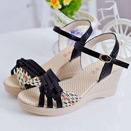Espadrille Verano Sandalias Bohemia Sandalias Tacones Mujeres Abierta Negro K Punta Mujer de Sandalias Zapatos de Cuña Cuña de con Youth De Mujer Plataforma Cuña Moda Verano S5pxwXq