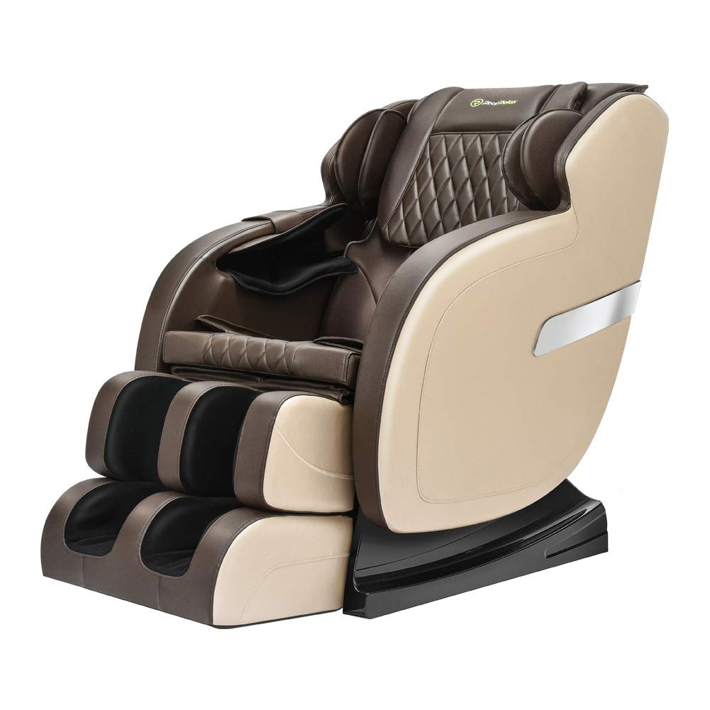 Real Relax Rocking Assembled Affordable Robotic S Track Zero Gravity Full Body Massage Chair Recliner with Bluetooth Audio Play, Khaki