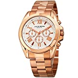 Akribos XXIV Women's Multi-Function Gold Tone Case on Gold Tone Bracelet and Peach Dial with Gold Tone Hands Watch AK951 (Rose Gold)