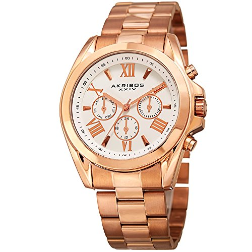 Gold Self Winding Bracelet - Akribos XXIV Women's Multi-Function Rose Gold Tone Case on Rose Gold Tone Stainless Steel Bracelet White Dial with Rose Gold Tone Hands Watch AK951RG