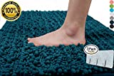 Yimobra Soft Bath Mat Plush Texture Non-slip High Absorbent for Bathroom Large 31.5 X 19.8 Inch Peacock Blue (Presented Wall Hooks 3 Pack)