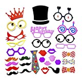 Msliy DIY Photo Booth Props Birthday Wedding Holiday Party Supplies Decorations Mix of Hats Lips Crowns Mustaches and More (31 pcs)