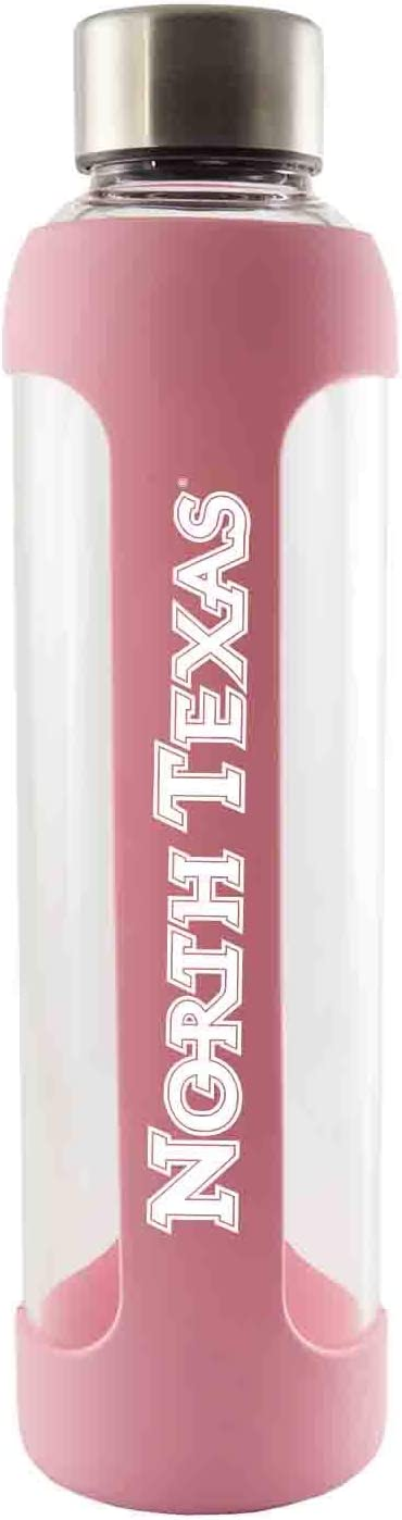 University of North Texas-Glass Water with Silicone Sleeve-20 oz.-Pink