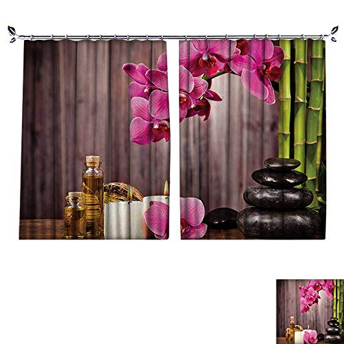 DESPKON Shading Polyester Material hid Flowers Rocks Bamboo Asian Style Aromatherapy Massage Therapy for Room Decoration W96 x L72 (Cafe Diamond Diamond Brown)