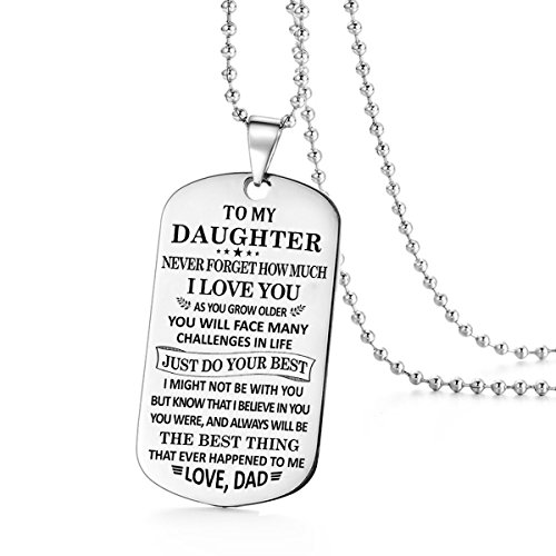 To My Daughter Just Do Your Best Love Dad Daddy Father Dog Tag Military Air Force Navy Coast Guard Necklace Ball Chain Gift for Best Son Birthday Graduation Stainless (Chain Navy Necklace)