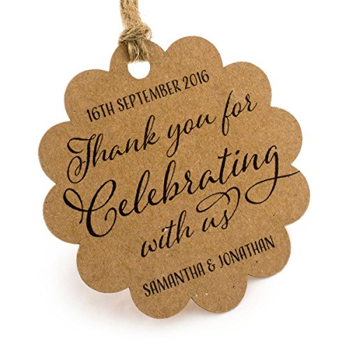 Summer-Ray 50pcs Personalized Mini Scallop Brown Kraft Wedding Favor Gift Tags Thank You for Celebrating with Us (Summer Wedding Favors)