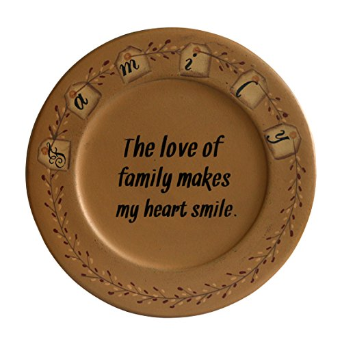 (CVHOMEDECO. Primitive Country Wood Decorative Plate Round Vintage Display Wooden Family Plate Home Décor Art, 9-3/4