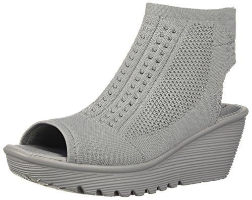 (Skechers Women's Parallel-Tight Peep Toe Stretch Knit Sandal Wedge, Grey, 9.5 M US)