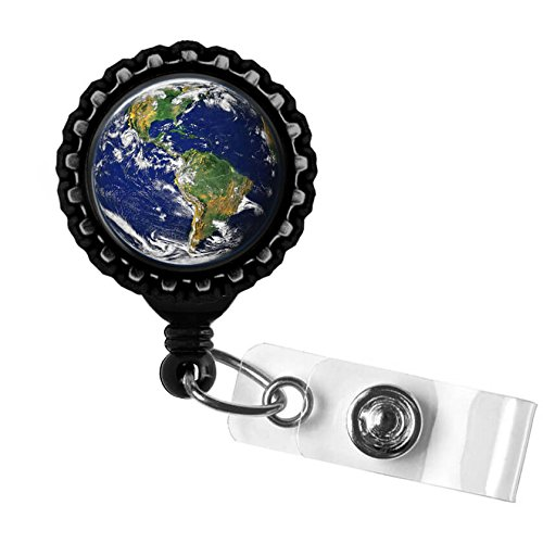 Planet Earth Black Retractable Badge Reel ID Tag Holder by Geek Badges -