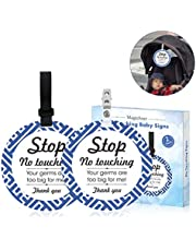 No Touching Signs, 2 Pack Stop No Touching Baby Signs Do Not Touch Baby Signs Baby Car Seat Tags Baby Safety Signs Baby Stroller Tags for Newborn Baby
