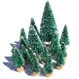 Mini Snow Globe Christmas Trees Tabletop Fake Bottle Brush Decor Craft Christmas Village Flocked PineTrees Party Decoration DIY Accessories Up to 4-7/8'' Green 16PCS with Wooden Base