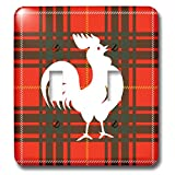 3dRose Russ Billington Designs - Proud Little White Rooster on Red Tartan Background - Light Switch Covers - double toggle switch (lsp_287510_2)