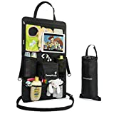 "KemptKoala Ultimate Car Backseat Organizer w/Touch Screen Friendly 17"" Tablet Pocket & Cup Holder – #1 Guaranteed Back Seat Car Organizer for Kids w/Handy Pockets for Wipes, Toys etc. Size: Large"