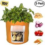 Potato Planter Bag, 2-Pack Potato Grow Bag, 8 -Gallon Velcro Window Vegetable Grow Bag, Double Layer Premium Breathable Nonwoven Cloth Strap Handles, Aeration Fabric Pots (Orange)