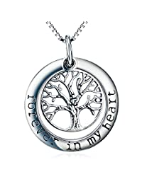 """Tree of Life Pendant Necklace - """"Forever in my heart"""" - Memorial Jewelry - Locket Necklace for Women"""