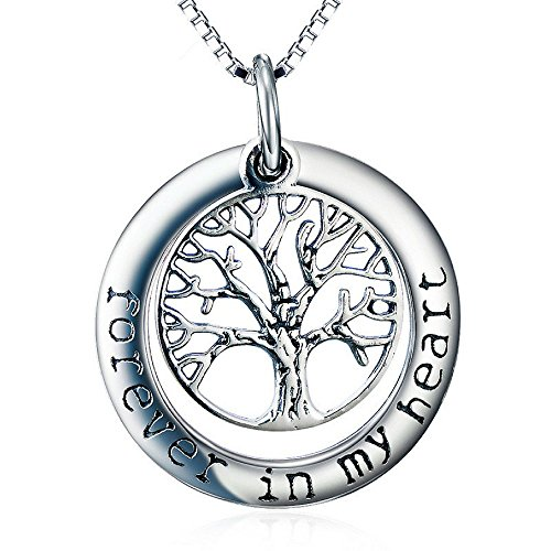 Tree of Life Pendant Necklace -Forever in My Heart - Memorial Jewelry - Locket Necklace for Women (Locket Heart Woman Forever)