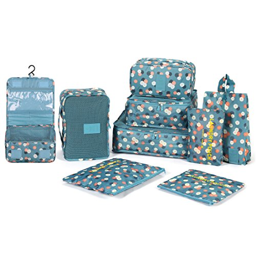 DOKEHOM 9 Set Packing Cubes (2 Colors), Travel Organizers (Blue Flower) ()