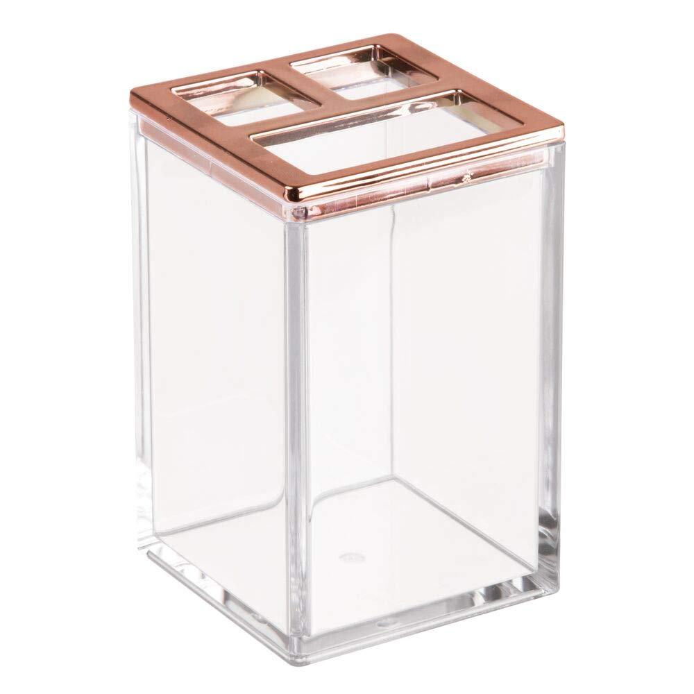 durchsichtig//ros/égold mDesign 4er-Set Badzubeh/ör aus robustem Kunststoff Seifenschale und Becher Seifenspender Zahnb/ürstenhalterung