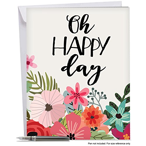 "J6631GBDG Jumbo Humorous Birthday Card: Optimisms: Featuring an Inspirational Saying Combined with Bright and Colorful Floral Images, With Envelope (Large Size: 8.5"" x 11"")"