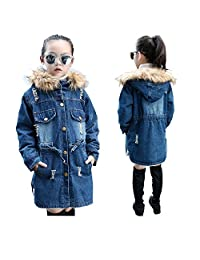 Canvos Kids Girls Winter Warm Velvet Hooded Denim Thick Jackets Outerwear