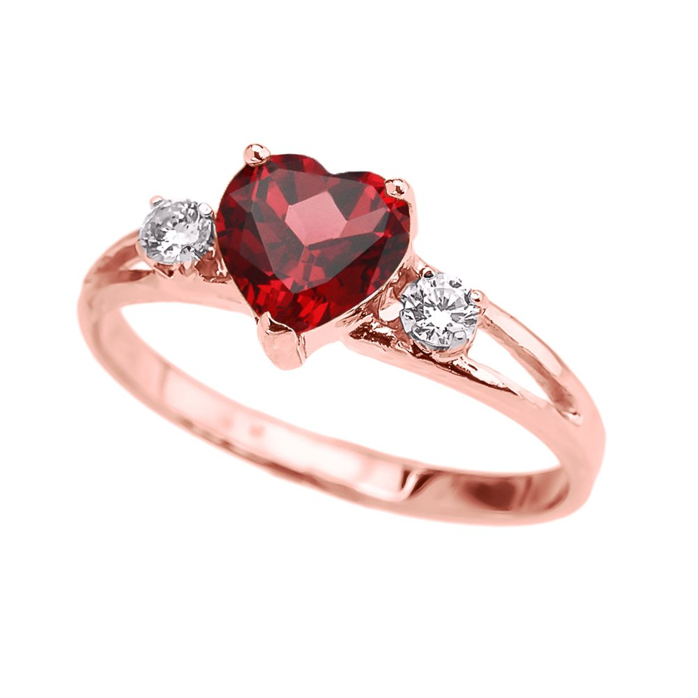 Precious 10k Rose Gold July Birthstone Heart Proposal/Promise Ring with White Topaz (Size 5.5)