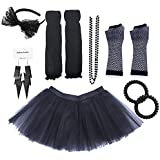 Dreamdanceworks 80s Costumes Accessories Set for Women Tutu Skirt Plus Size I Love 80s Skirt Fashion (Black with Headband)