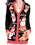 v28 Christmas Sweater Cardigan Ugly Women Plus Size Vintage Penguin Snowman Knit(M, Cute Black)