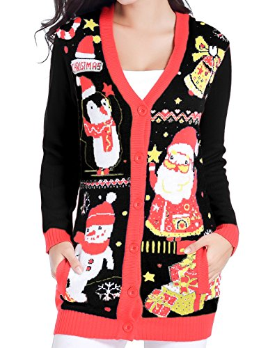 v28 Christmas Sweater Cardigan Ugly Women Plus Size Vintage Penguin Snowman Knit(M, Cute Black) by v28