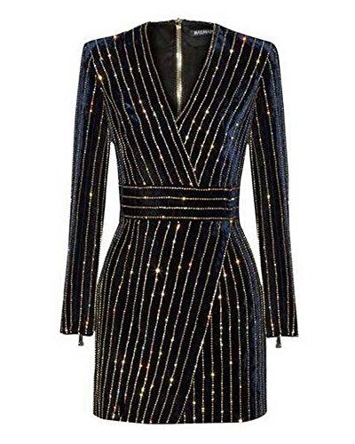 Whoinshop Women's Velvet V-Neck Long Sleeve Sequined Mini Cocktail Wrap Dress (S, Black)
