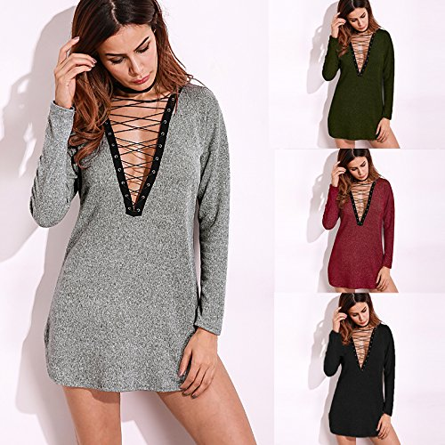 Celmia Women Long Sleeve Lace Up Club Party Sexy Deep V Solid Mini Shirts Dress