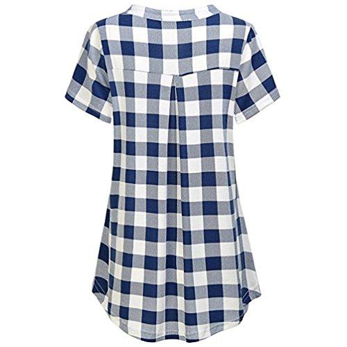 Top V Casual Plaid Corta Maglietta Manica Shirt Camicia Blu Polo Perversioni Donne Divertenti Donna Zip T Zolimx Collo SqPZaZ