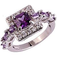 Na Na Nubngen Siam panva Amethyst White Topaz Jewelry Pretty Sexy Gemstone Silver Ring Size 6 7 8 9 10 (6)