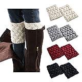 Women Boot Cuffs - Winter Knitted Boots Socks Crochet Short Leg Warmers (1# 4pairs-A) (1# 4pairs-A)