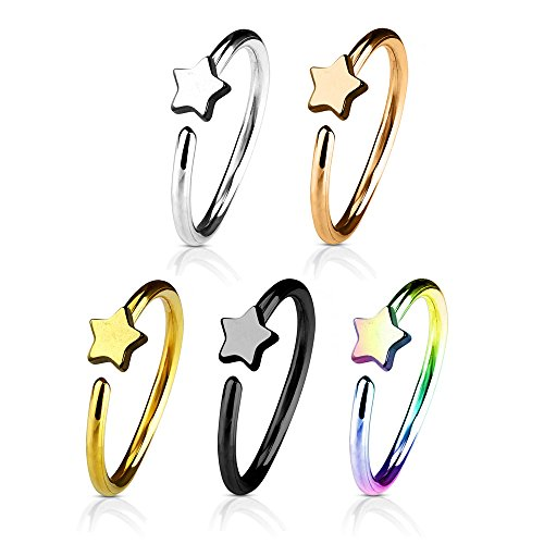 UNU Style 5 Pcs Stainless Steel Hoop Ring for Nose & Ear Cartilage, Gold, Black, Rose Gold, Rainbow, Silver Color Set (C: Star Shape)