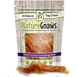 "Nature Gnaws Tendon Chews 4-7"" (12 Pack) - 100% All Natural Grass Fed Premium Beef Dog Chews - Promotes Healthy Joints & Ligaments"