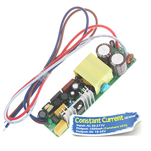 Chanzon LED Driver 1500mA (Constant Current Output) 18V-34V (Input 85-277V AC-DC) (6-10) x5 30W 35W 40W 45W 50W Power Supply 1500 mA Lighting Transformer for High Power 50 W COB Chips (PCB Board)