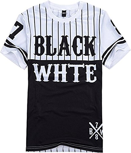 Mens Hipster Hip Hop Black and White Striped Baseball T Shirt Tee Tops (Striped Hipster)